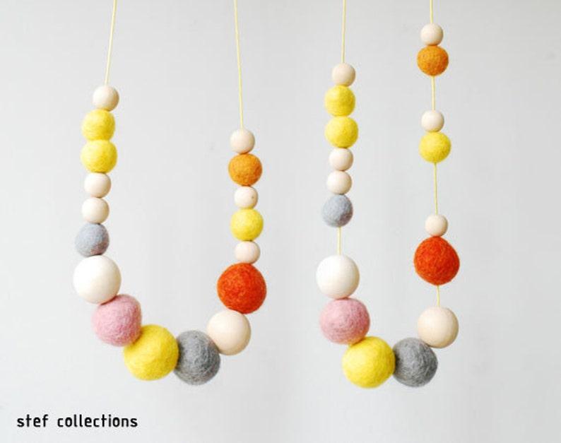 Pastel Necklace. Felt Balls Necklace. Wooden Bead Necklace. image 0