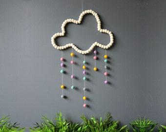 Cloud Mobile. White. Nursery Mobile. Baby Kids room. Baby decor. Colourful mobile. Children room. Homewares Gift. Felt balls