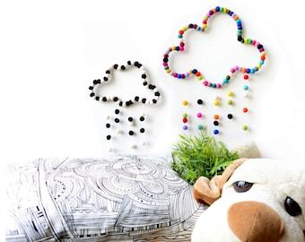 Cloud Mobile. COLOURFUL RAINBOW MOBILE. Baby Nursery Mobile. Kids room. Baby decor. Children room Homewares Gift. Felt balls