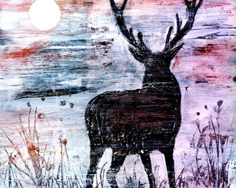 Highland Red Deer 'The Stag and the Moon' mounted digital print from an original mixed media.