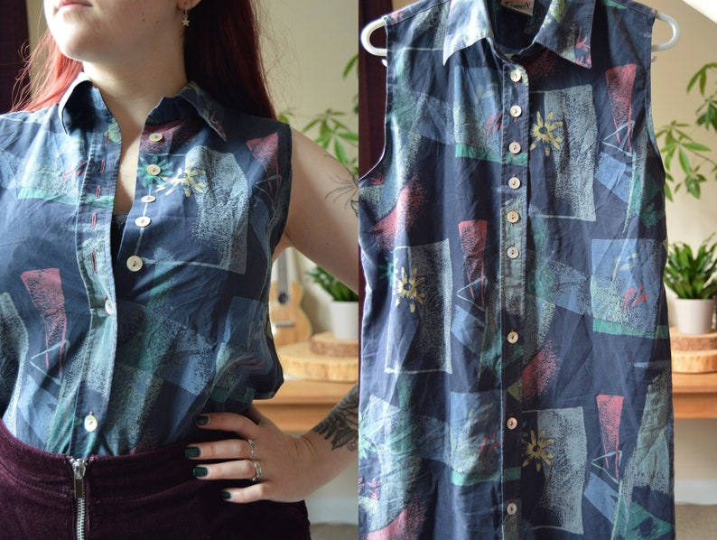 Vintage 90s Sleeveless Shirt Vintage 90s Blouse Shirt Dress image 0