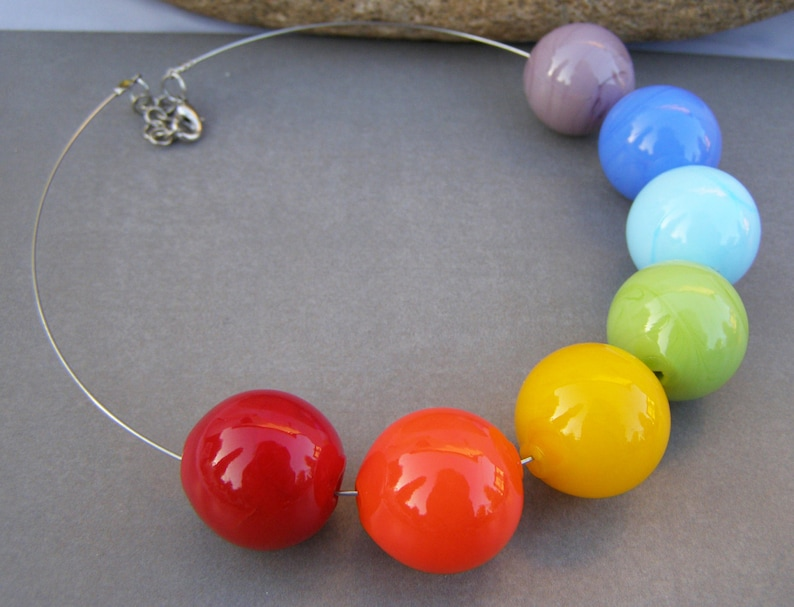 collana vetro Murano- blown necklace Murano necklace-Bubble hollow glass necklace-lampwork necklace-rainbow necklace