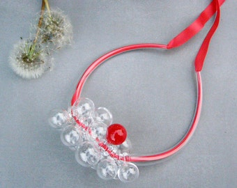 Bubble glass necklace with red satin ribbon