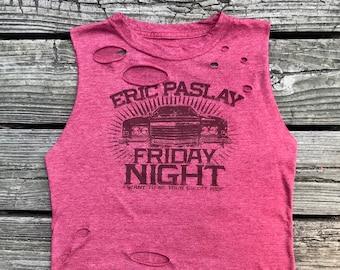 ERIC PASLAY Red Rebel Fray Custom Distressed Tank Top Shirt Women's S