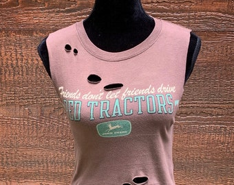 0b1cd9b9 JOHN DEERE Rebel Fray Custom Distressed Women's Vintage Crop Top Shirt