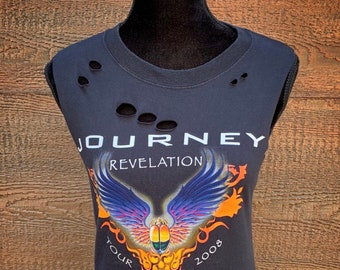 18fd6bbf5 JOURNEY Rebel Fray Custom Distressed Women's Classic Rock Band Shirt