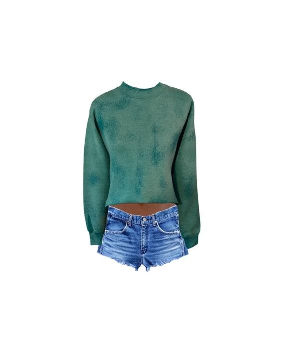 Cropped Sweatshirt   Sweatshirt   Distressed   Ble