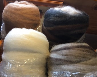 Ready to spin Lt 8 ounces fawn beige USA product!! tan AlpacaBamboo Roving