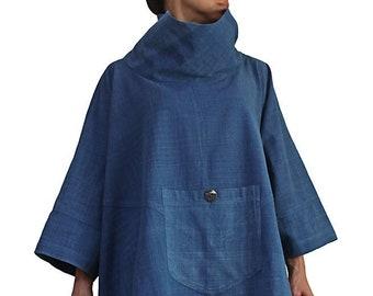 ChomThong Hand Woven Cotton  High Neck Poncho Tunic (BFS-122)