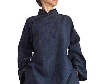 ChomThong Hand Woven Cotton China Tunic Blouse (B-514-04)