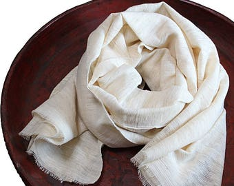 Natural Handwoven Cotton Stole (TX-088-02)