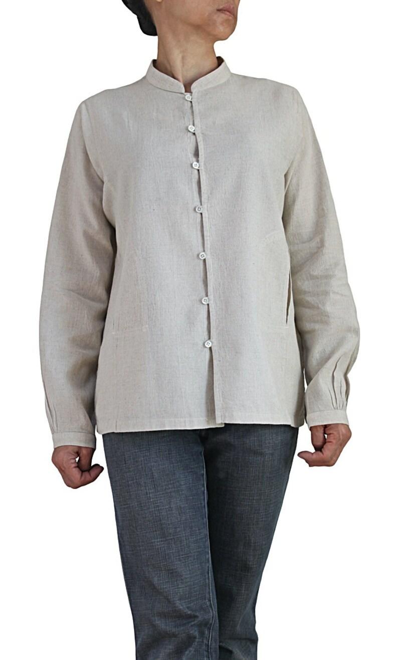 BFS-177-02 Linen Cotton Standing Collar Blouse Jacket