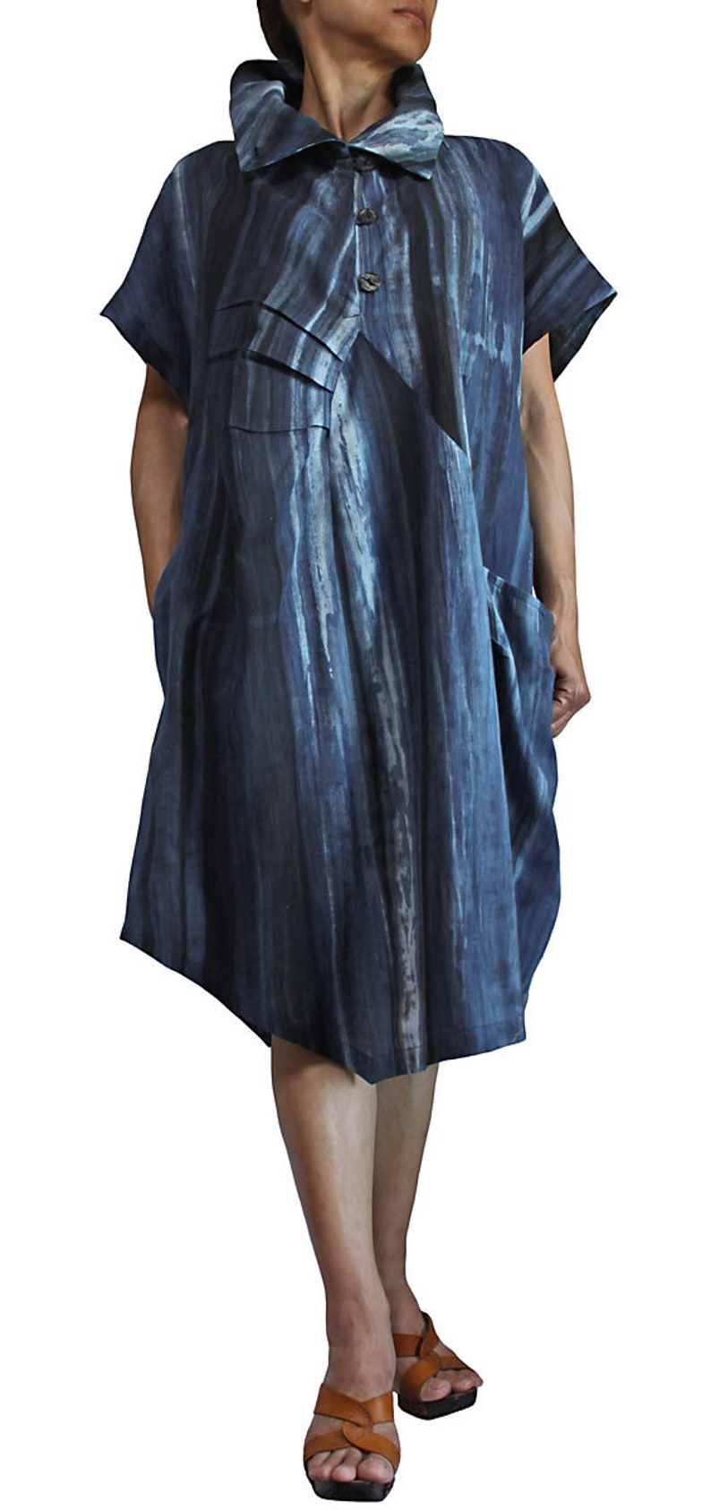 DRL-005 Natural Indigo Dyed Long Tunic Dress