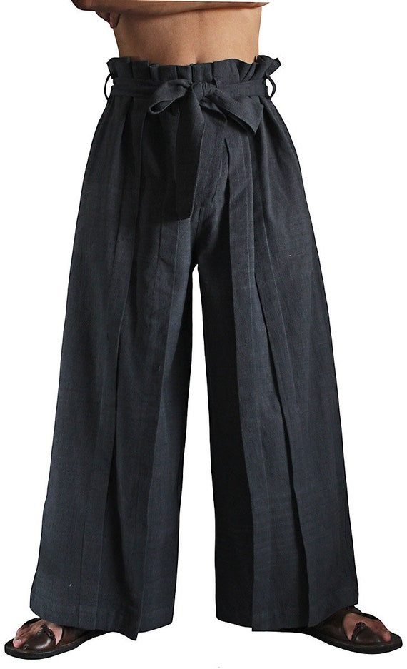 Chom Thong Hand Woven Cotton Hakama Style Pants (Pfs 039 01 L) by Etsy