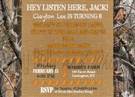 Duck Dynasty Birthday Invitation Boys Camo Orange Custom Etsy