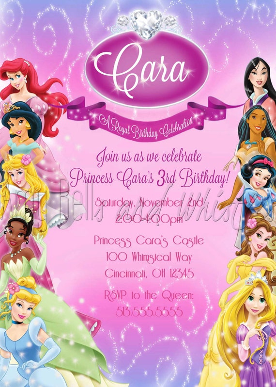 Disney Princess Birthday Invitation Custom Personalized
