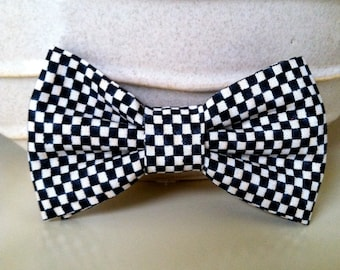Dog Bow Tie- Black and White Checker