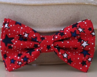 Dog Bow Tie- Red with Blue Stars
