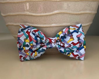 XL Dog Bow / Bow Tie - Multicolored Friends Holding Hands