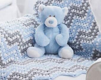 Crochet baby ripple blanket, infant waves blanket, blue, gray & white afghan, boy or girl nursery bedding, nursery decor. MADE TO ORDER.