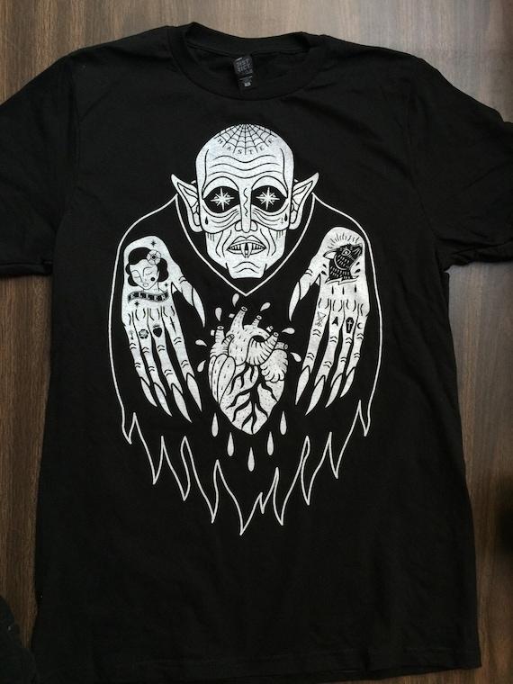 Nosferatu Wampir Horror Tee Halloween Horror Film Tatuaż Etsy