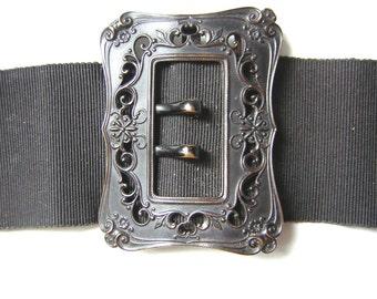 Belle boucle de ceinture ancienne (1930), noire avec sa ceinture d origine.  7 cm d6130ab5f61