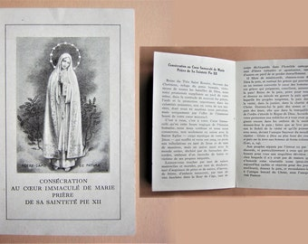"""Rare, 1942, prayer from Pie XII to  the Virgin (Our Lady of Fatima), Second World War, antique holy, religious picture. 5.31"""""""