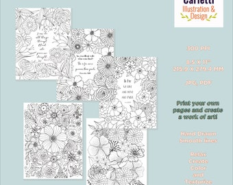 Bible Verse Coloring Pack, Scripture Coloring Pages, Bible Verse Coloring, Adult Coloring Pages, Floral, Flowers, Coloring