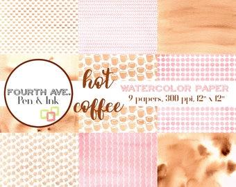Brown and Pink Watercolor Digital Paper, Brown, Pink, Coffee, Watercolor, Digital Paper Pack, Scrapbook Paper, Digital Paper Pack