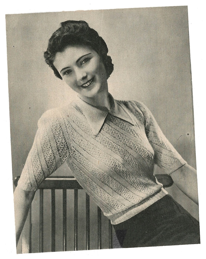 58132da8abc 1940s Knitting Pattern for Womens Lace Blouse / Jumper - 37 38 in bust -  Digital PDF