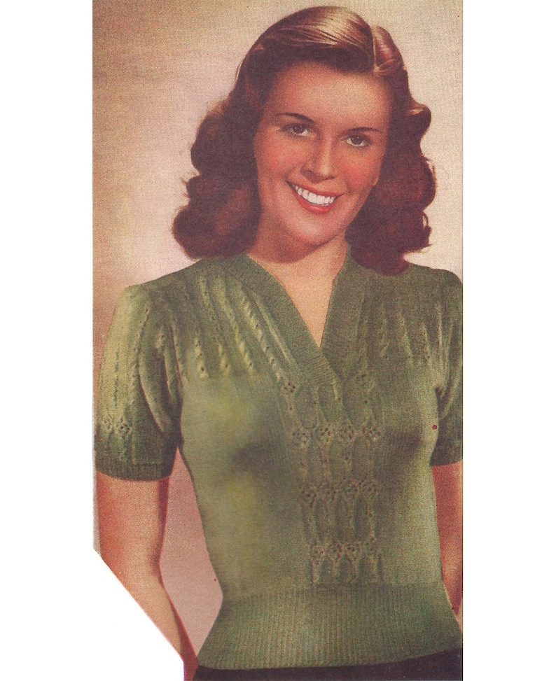 5dbce99f7 1940s Knitting Pattern for Womens Jumper   Blouse in Lace