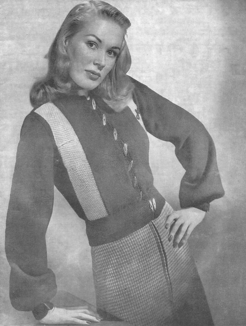 b70f59a1a 1940s Knitting Pattern for Womens Jeep Jacket   Cardigan   Ski