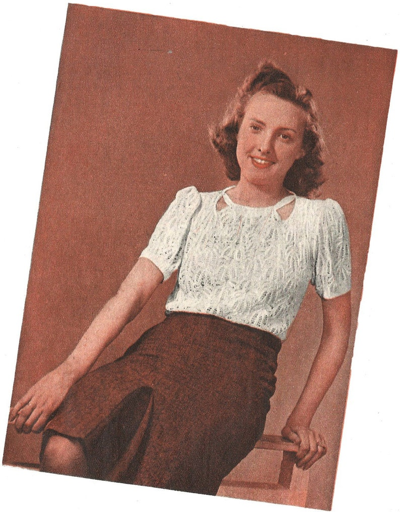 7ec55b4bb16 1940s Knitting Pattern for Womens Lace Jumper / Blouse - 38 in 96 cm bust -  Digital PDF
