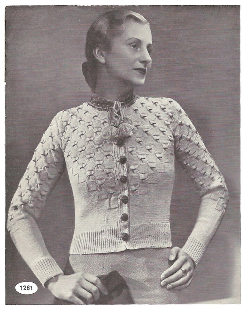 a998c89ab 1930s Knitting Pattern for Womens Tyrolean Cardigan   Vest