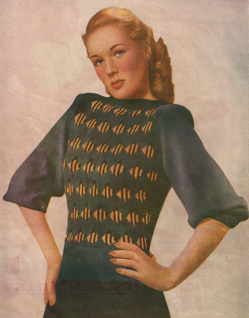1940s Knitting Pattern for Womens Jumper with Tropical ...
