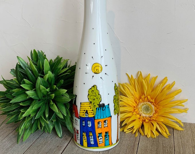 Olive oil Dispenser, Ceramic, Colourful houses, bird, tree, sun, vinegar, Maple sirop, Hand painted bottle