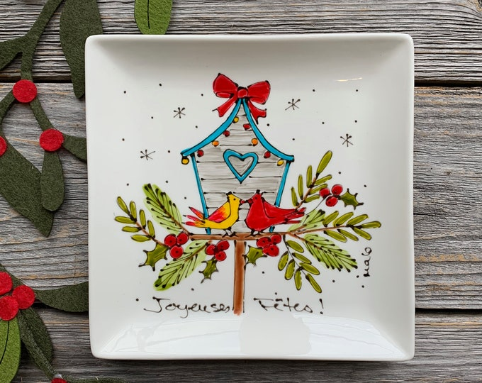 Small Square porcelain plate, 2 bird cardinal, bird house, jewel tray, kitchen bird lover, unique gift, Christmas gift, Hand painted