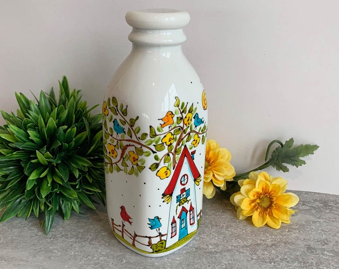 milk bottle white stoneware with cover vintage style hand paint house tree