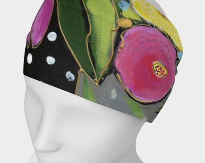 Headband flower,  scarf face warmer, pink flowers, yellow, black, green, for danse, yoga or sport