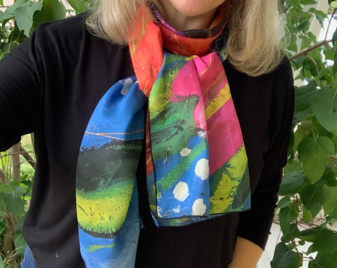 Long SILK scarf, Red flowers, blue background, woman silk scarf, gift for her, Colourful scarf, Art print scarf