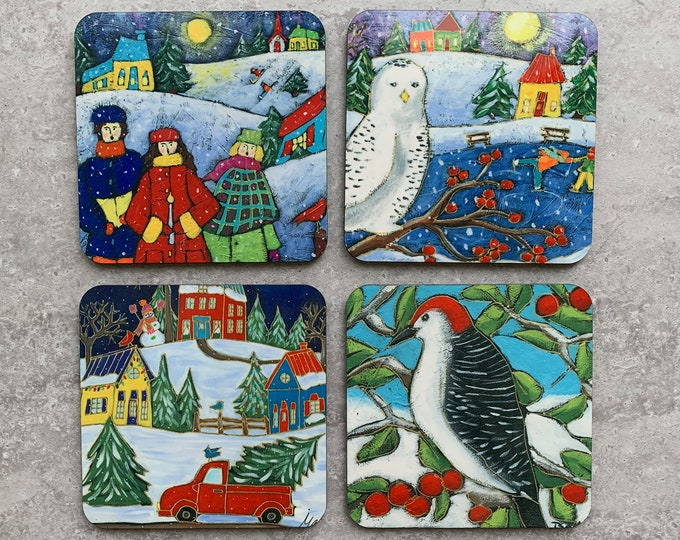 Set of 4 Coasters, Colourful Winter scene Landscape, Christmas choral, Snowy Owl, Woodpeckers, red car Christmas tree, Christmas gift