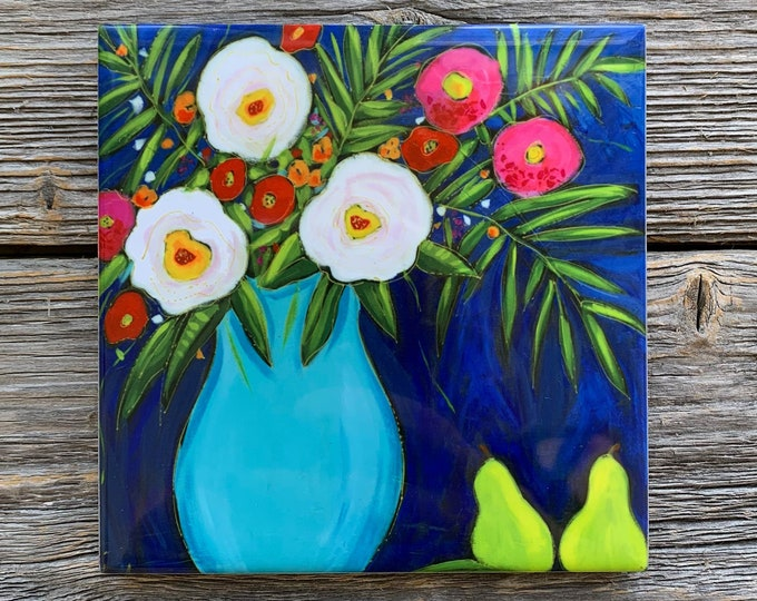 Ceramic tile, Coaster, Flower vase,  white and pink flowers, blue background, Trivet flowers