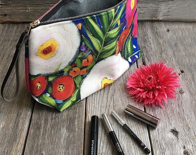 Zipper Carry-alls, flower, pink flower, red flower, white flower, blue, Cosmetic pouch, travel friendly, storage bag, art print flower