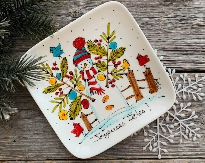 Small Square porcelain plate, Snowman, tree branch, bird, jewel tray, unique gift, Christmas gift, Hand painted