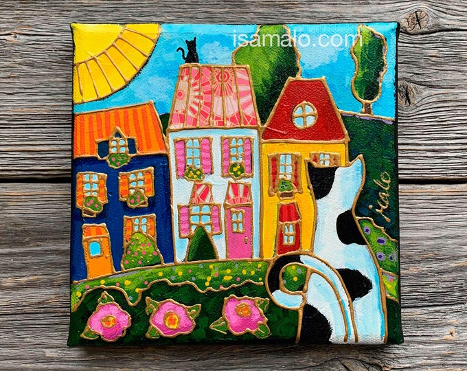 Original acrylic painting Cat, Black and white cat, colourful houses, pink flower, by artist Isabelle Malo