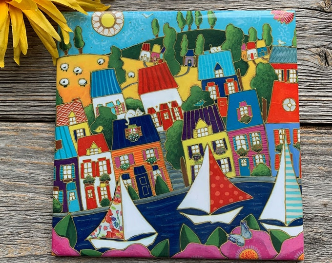 Ceramic tile wall Art, Colourful houses, sailboat, flowers, square trivet, ceramic frame, wall art ceramic