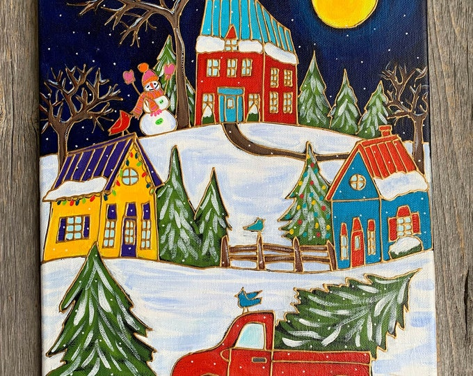 Original acrylic painting on canvas, Winter scene painting, red truck with Christmas tree, snowman, moon, home decor by artist Isabelle Malo