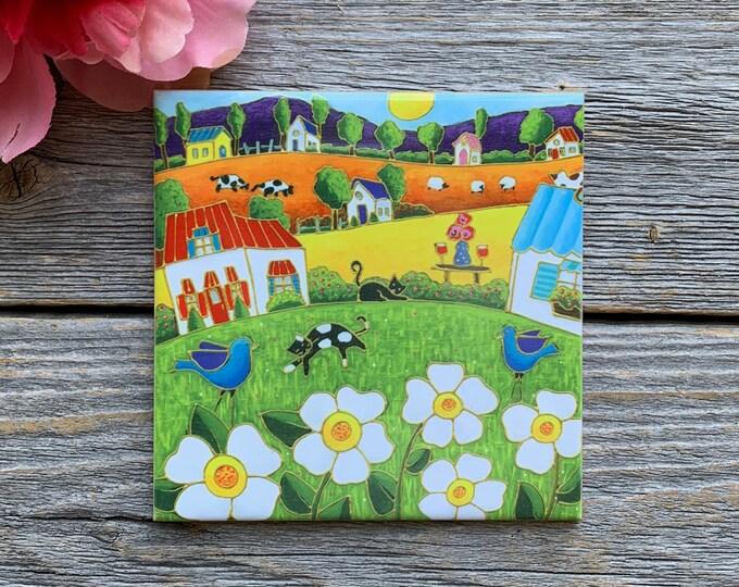 Ceramic tile coaster colourful landscape cat white flower blue bird art print ceramic