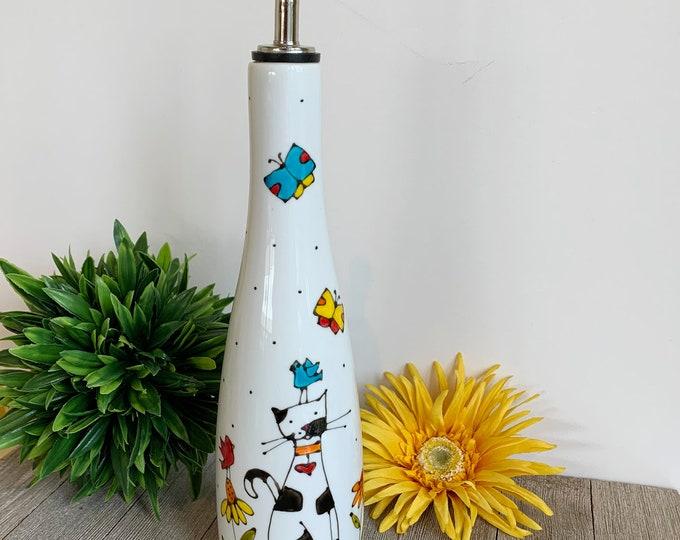 Olive oil Dispenser, Porcelain, Cat black and white, bird, butterfly, flowers, vinegar, Maple sirop, Hand painted bottle