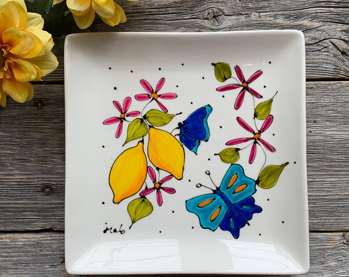 Lemon plate, Square porcelain plate, 2 lemon, blue butterfly, pink flowers, dessert plate, jewel tray,unique gift, Hand painted